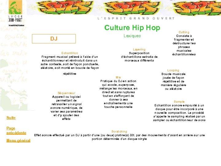 Culture Hip Hop Lexiques DJ Echantillon Fragment musical prélevé à l'aide d'un échantillonneur et