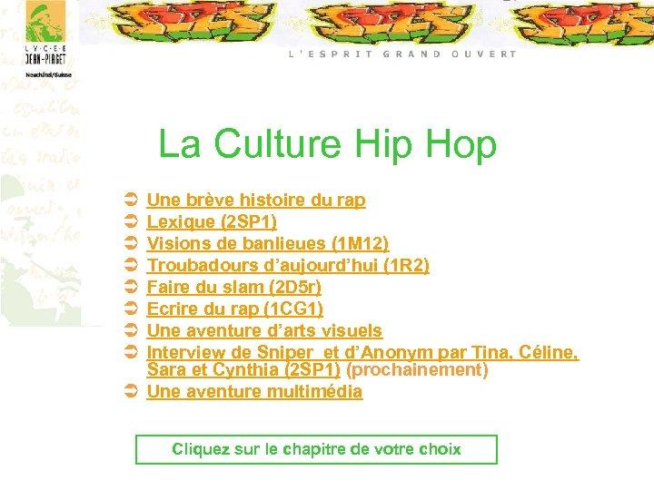 La Culture Hip Hop Ü Ü Ü Ü Une brève histoire du rap Lexique