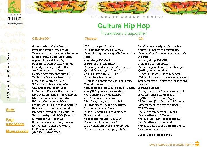 Culture Hip Hop Troubadours d'aujourd'hui 1 R 2 / Liliana - Prisca – Débora