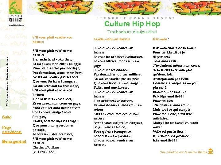 Culture Hip Hop Troubadours d'aujourd'hui 1 R 2 / Fiona - Amira - Stéphanie