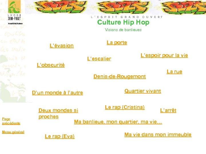 Culture Hip Hop Visions de banlieues L'évasion La porte L'escalier L'espoir pour la vie