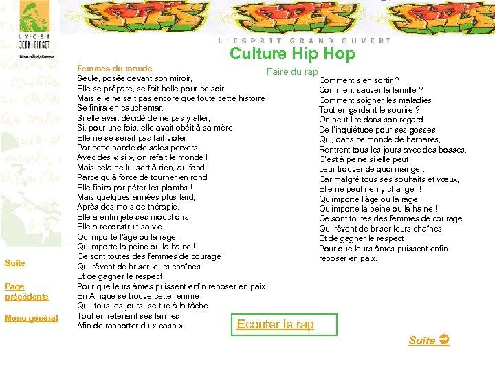 Culture Hip Hop Suite Page précédente Menu général Femmes du monde Faire du rap