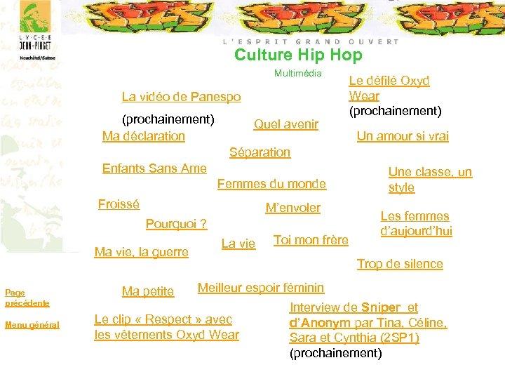 Culture Hip Hop Multimédia La vidéo de Panespo (prochainement) Ma déclaration Quel avenir Le