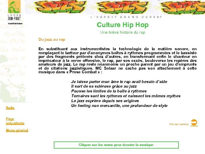 Culture Hip Hop Une brève histoire du rap Du jazz au rap En substituant