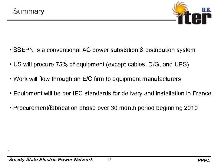 Summary • SSEPN is a conventional AC power substation & distribution system • US