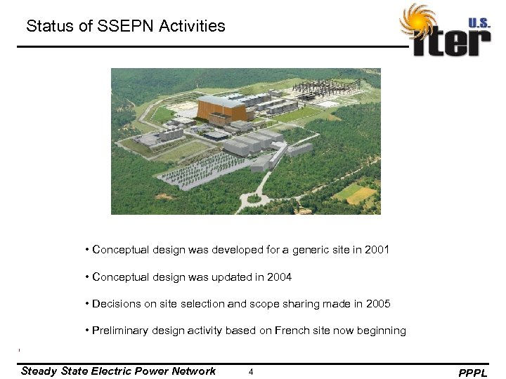 Status of SSEPN Activities • Conceptual design was developed for a generic site in
