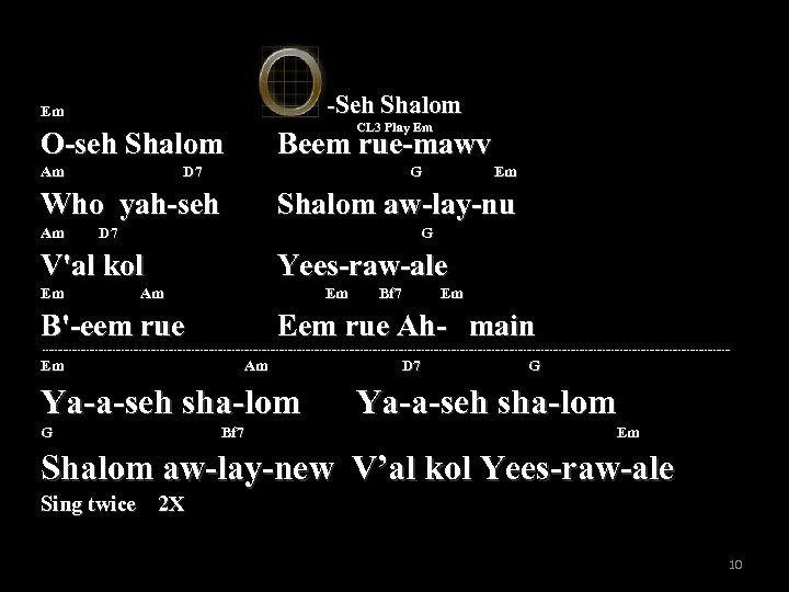 -Seh Shalom Em CL 3 Play Em O-seh Shalom Beem rue-mawv Am D 7