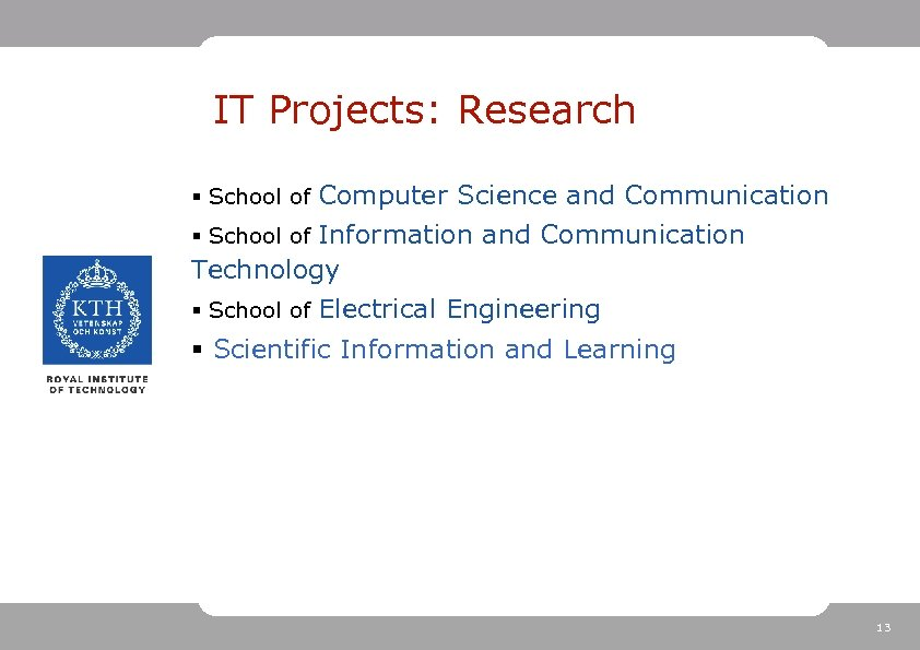 IT Projects: Research § School of Computer Science and Communication § School of Information