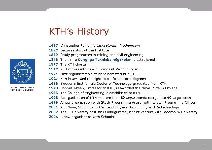 KTH's History 1697 1827 1869 1876 1877 1917 1921 1927 1956 1970 1986 1993
