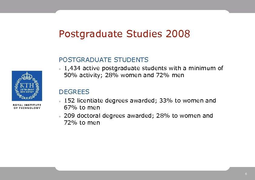 Postgraduate Studies 2008 POSTGRADUATE STUDENTS 1, 434 active postgraduate students with a minimum of
