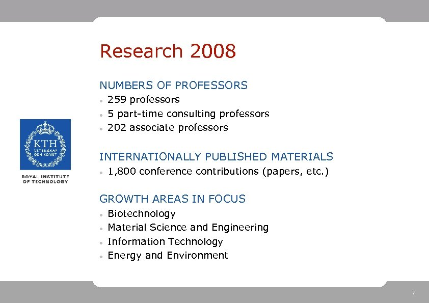 Research 2008 NUMBERS OF PROFESSORS 259 professors 5 part-time consulting professors 202 associate professors