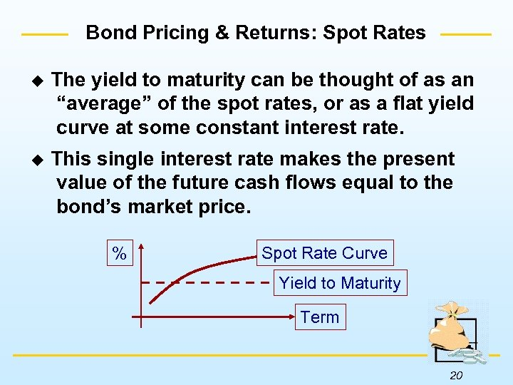 Bond Pricing & Returns: Spot Rates u The yield to maturity can be thought