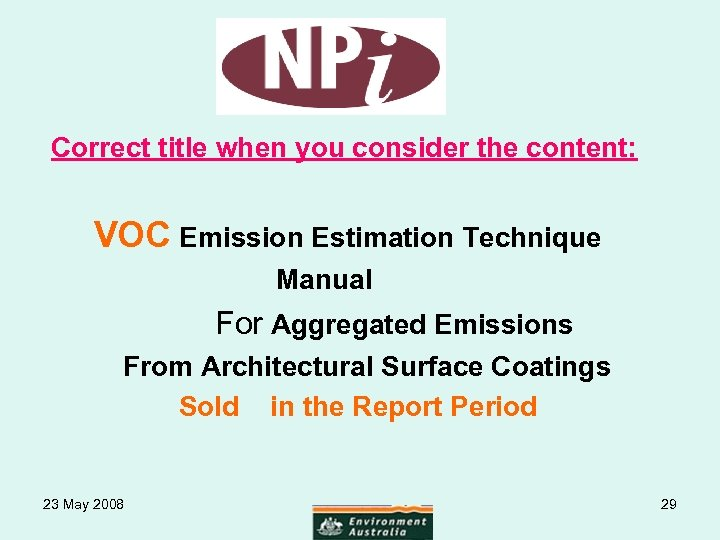 Correct title when you consider the content: VOC Emission Estimation Technique Manual For
