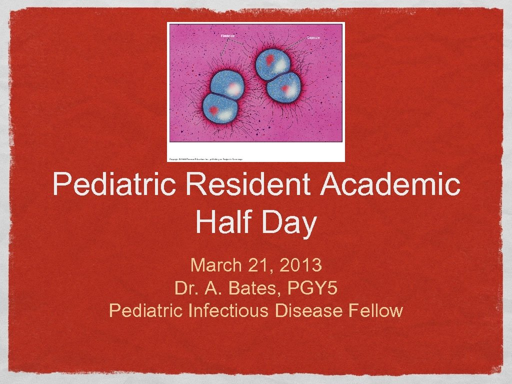 Pediatric Resident Academic Half Day March 21, 2013 Dr. A. Bates, PGY 5 Pediatric