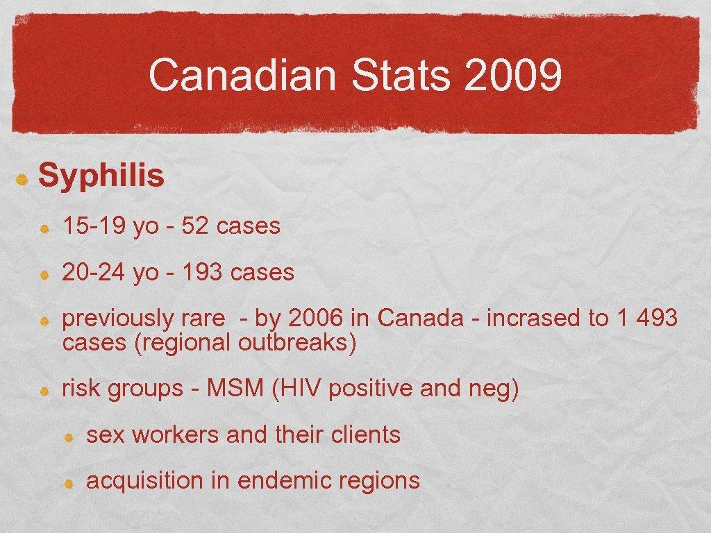 Canadian Stats 2009 Syphilis 15 -19 yo - 52 cases 20 -24 yo -