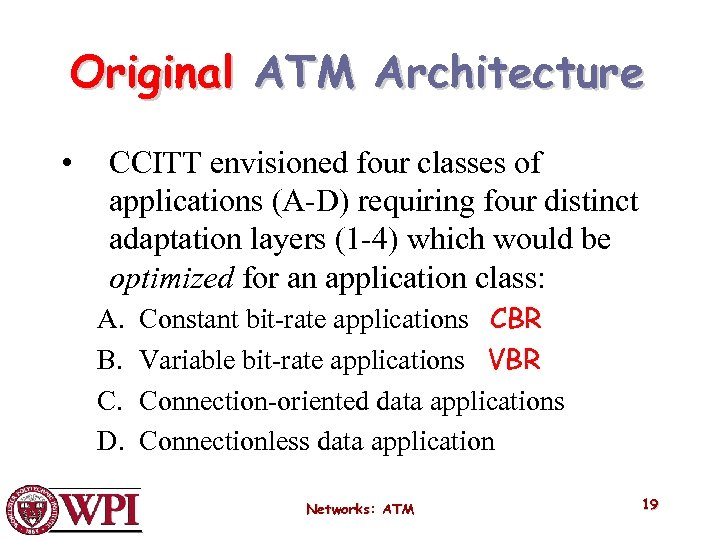 Original ATM Architecture • CCITT envisioned four classes of applications (A-D) requiring four distinct