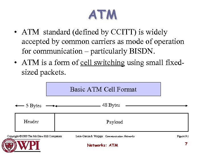 ATM • ATM standard (defined by CCITT) is widely accepted by common carriers as