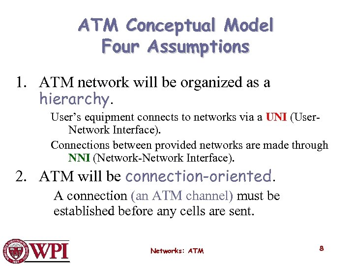 ATM Conceptual Model Four Assumptions 1. ATM network will be organized as a hierarchy.