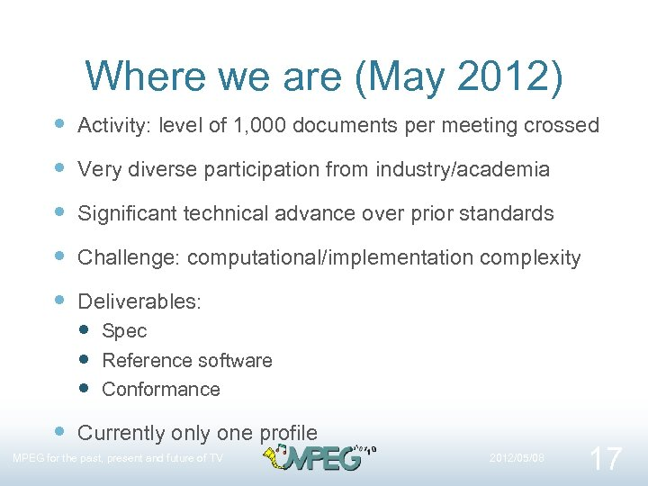 Where we are (May 2012) Activity: level of 1, 000 documents per meeting crossed