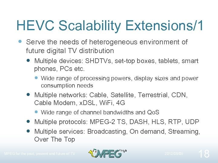 HEVC Scalability Extensions/1 Serve the needs of heterogeneous environment of future digital TV distribution
