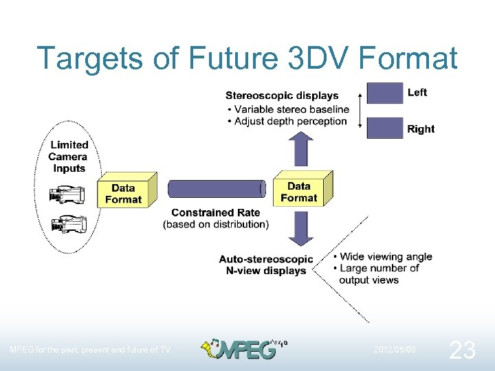 Targets of Future 3 DV Format MPEG for the past, present and future of
