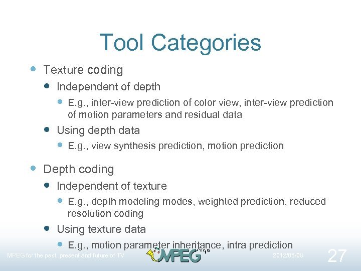 Tool Categories Texture coding Independent of depth E. g. , inter-view prediction of color