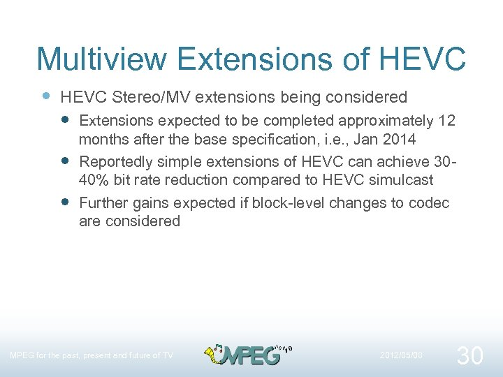 Multiview Extensions of HEVC Stereo/MV extensions being considered Extensions expected to be completed approximately