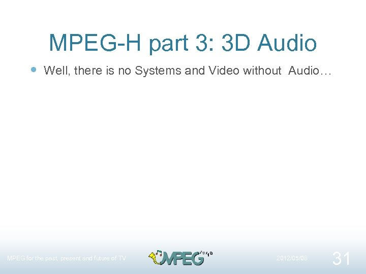 MPEG-H part 3: 3 D Audio Well, there is no Systems and Video without