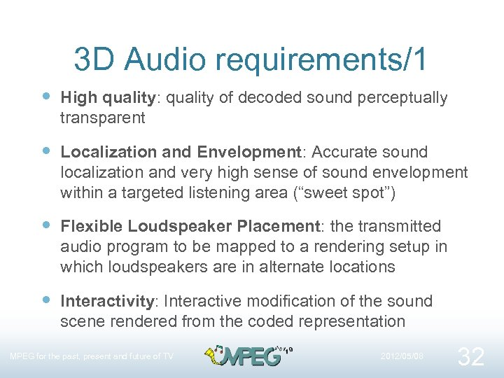 3 D Audio requirements/1 High quality: quality of decoded sound perceptually transparent Localization and