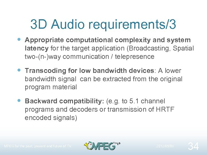 3 D Audio requirements/3 Appropriate computational complexity and system latency for the target application