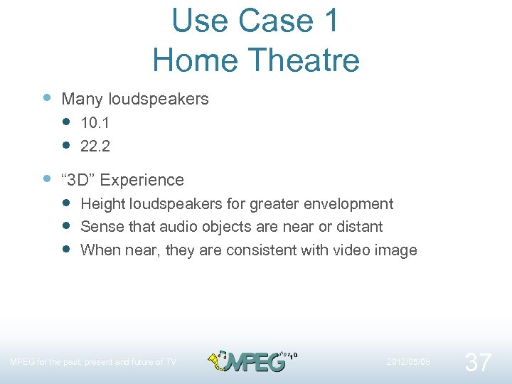 """Use Case 1 Home Theatre Many loudspeakers 10. 1 22. 2 """" 3 D"""""""