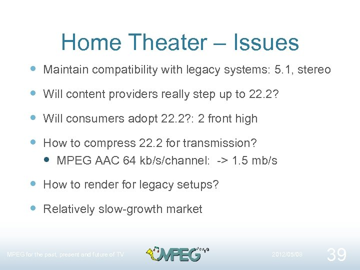 Home Theater – Issues Maintain compatibility with legacy systems: 5. 1, stereo Will content