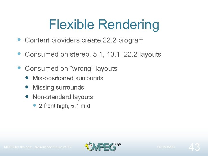 Flexible Rendering Content providers create 22. 2 program Consumed on stereo, 5. 1, 10.