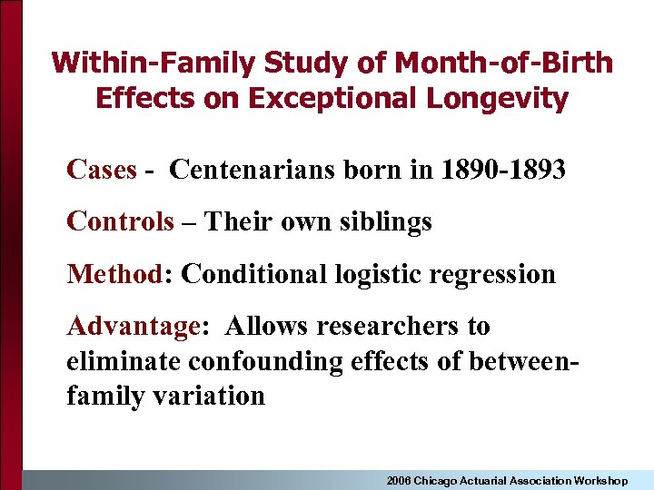 Within-Family Study of Month-of-Birth Effects on Exceptional Longevity Cases - Centenarians born in 1890