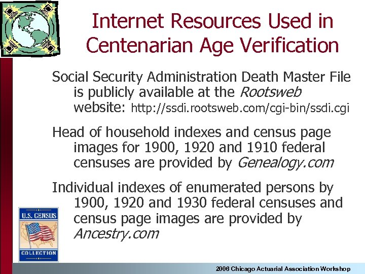 Internet Resources Used in Centenarian Age Verification Social Security Administration Death Master File is