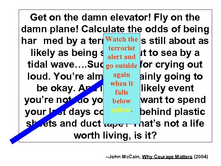 Get on the damn elevator! Fly on the damn plane! Calculate the odds of