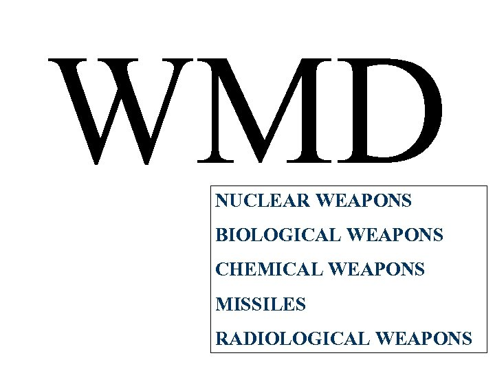 WMD NUCLEAR WEAPONS BIOLOGICAL WEAPONS CHEMICAL WEAPONS MISSILES RADIOLOGICAL WEAPONS