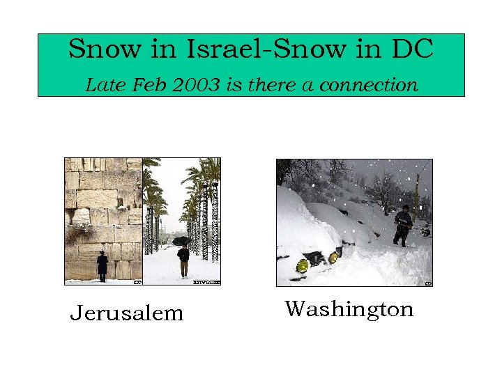 Snow in Israel-Snow in DC Late Feb 2003 is there a connection Jerusalem Washington