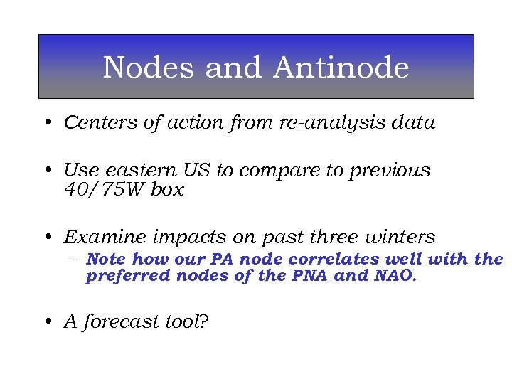 Nodes and Antinode • Centers of action from re-analysis data • Use eastern US