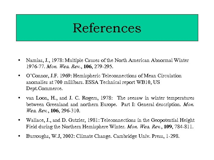 References • Namias, J. , 1978: Multiple Causes of the North American Abnormal Winter