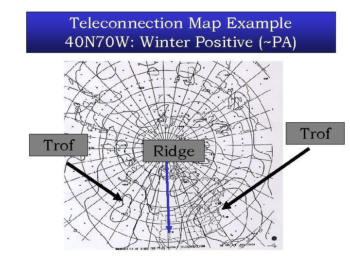 Teleconnection Map Example 40 N 70 W: Winter Positive (~PA) Trof Ridge