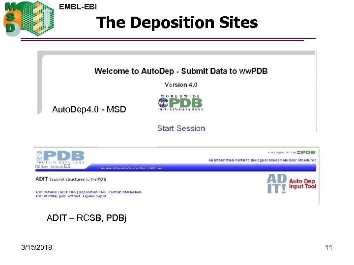EMBL-EBI The Deposition Sites Auto. Dep 4. 0 - MSD ADIT – RCSB, PDBj