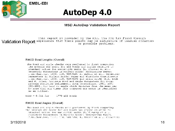 EMBL-EBI Auto. Dep 4. 0 Validation Report 3/15/2018 16
