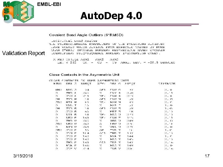 EMBL-EBI Auto. Dep 4. 0 Validation Report 3/15/2018 17