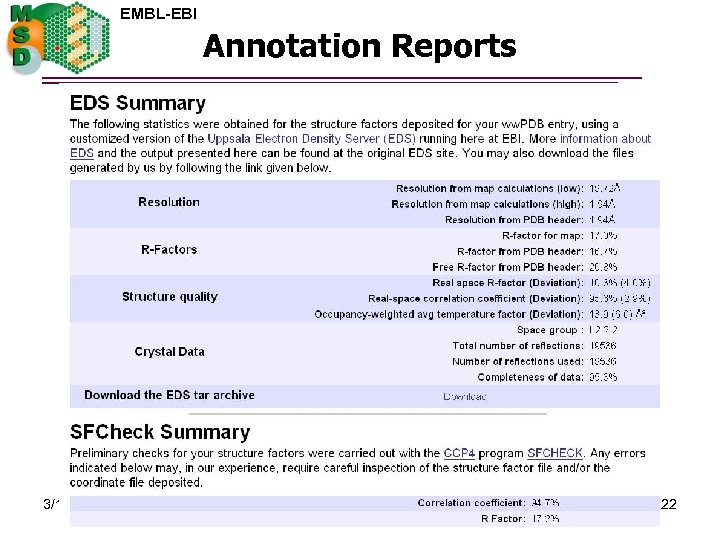EMBL-EBI Annotation Reports 3/15/2018 22