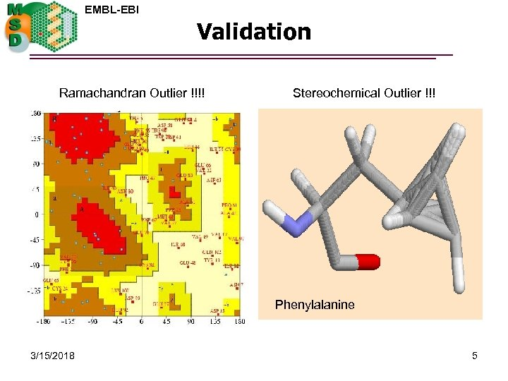 EMBL-EBI Validation Ramachandran Outlier !!!! Stereochemical Outlier !!! Phenylalanine 3/15/2018 5