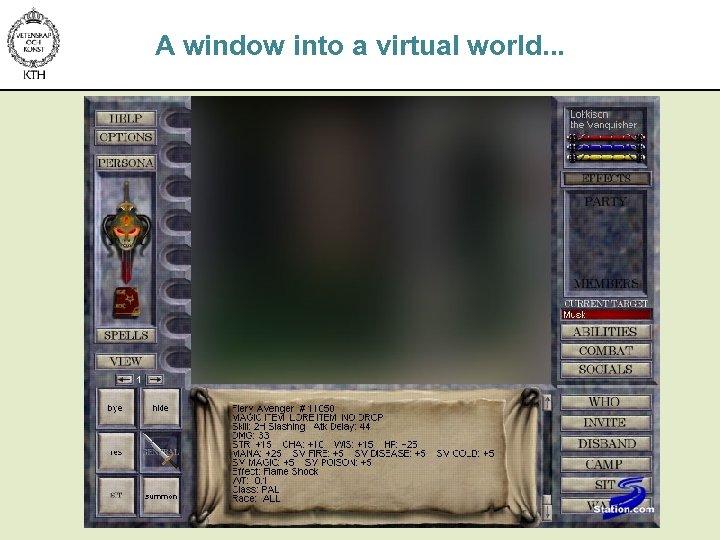 A window into a virtual world. . .