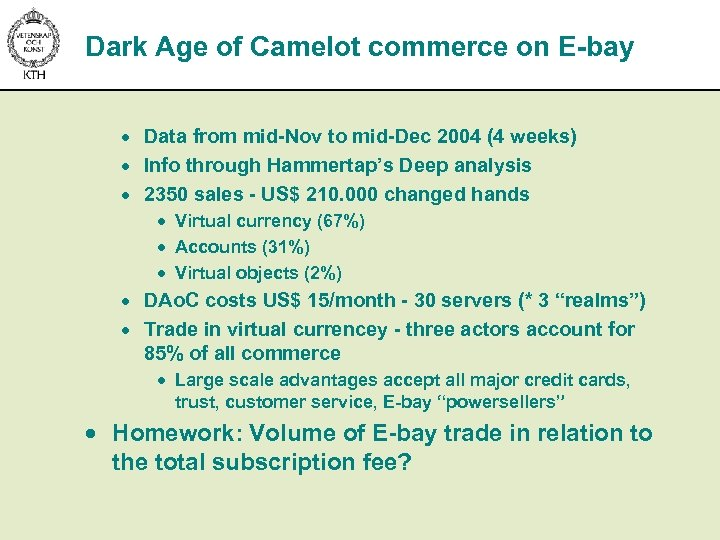Dark Age of Camelot commerce on E-bay · Data from mid-Nov to mid-Dec 2004