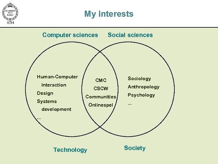 My interests Computer sciences Human-Computer CMC Interaction Design Systems Social sciences CSCW Communities development