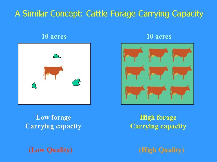 A Similar Concept: Cattle Forage Carrying Capacity 10 acres Low forage Carrying capacity High